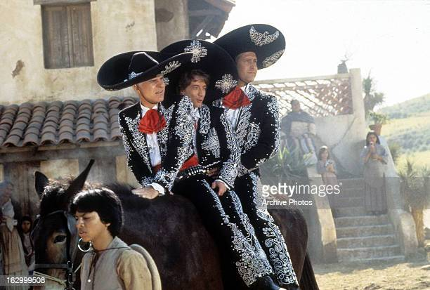 Steve Martin Chevy Chase and Martin Short in a scene from the film '¡Three Amigos' 1986
