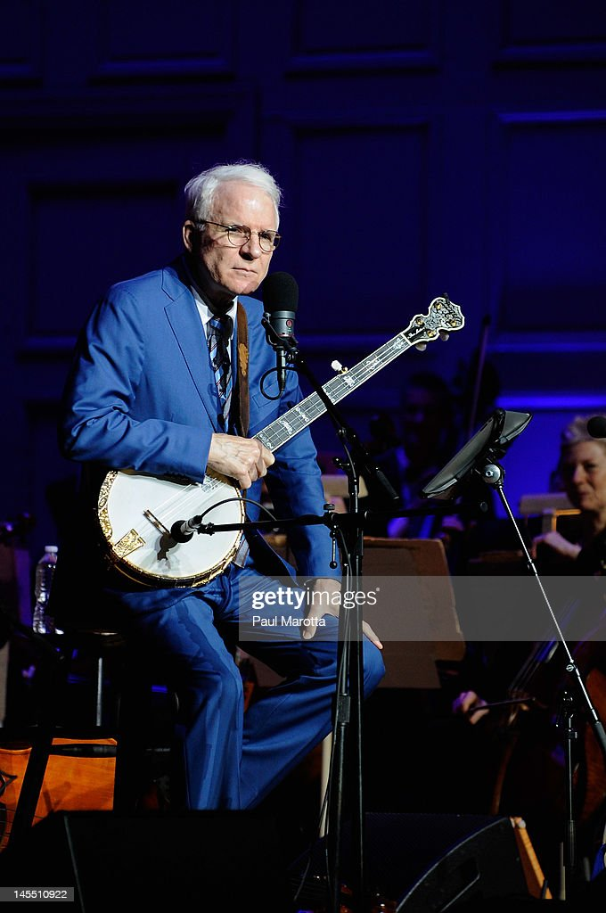 Steve Martin performs with the Boston Pops and The Steep Canyon Rangers at Symphony Hall on May 31, 2012 in Boston, Massachusetts.