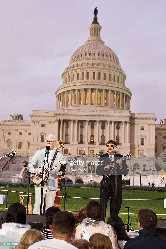 Steve Martin (L) performs with the Steep Canyon Rangers at the annual PBS 'A Capitol Fourth' concert at the US Capitol on July 3, 2011 in Washington, DC.