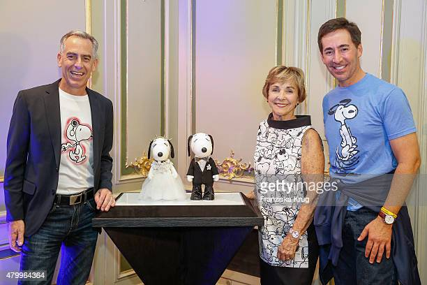 Steve Martino, Jeannie Schulz and Ralph Millero attend the Snoopy & Belle Vernissage at Mercedes-Benz Fashion Week Berlin Spring/Summer 2016 at...