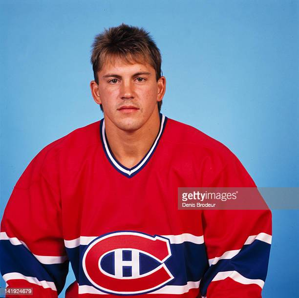 Steve Martinson of the Montreal Canadiens poses for a photo in 1989 at the Montreal Forum in Montreal Quebec Canada