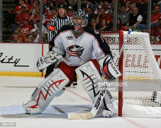 Steve Mason of the Columbus Blue Jackets gets set for a shot against the Detroit Red Wings during Game Two of the Western Conference Quarterfinals of...