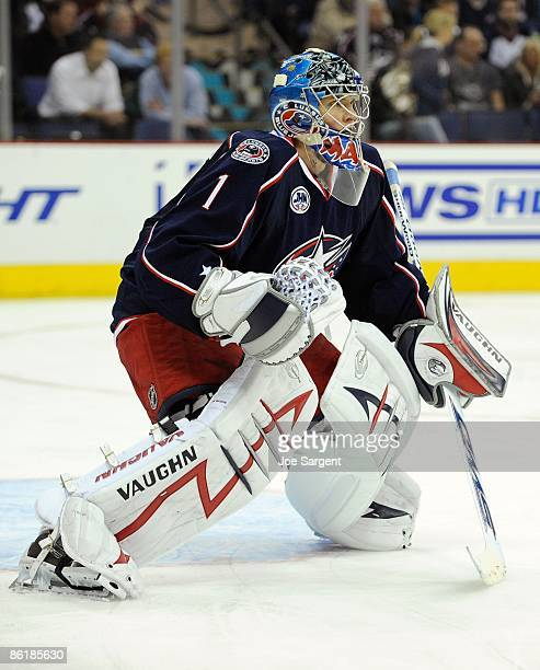 Steve Mason of the Columbus Blue Jackets looks up ice against the Detroit Red Wings during Game Three of the Western Conference Quarterfinals of the...