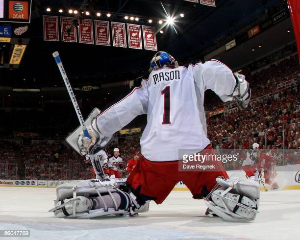 Steve Mason of the Columbus Blue Jackets makes a save against the Detroit Red Wings during Game Two of the Western Conference Quarterfinals of the...