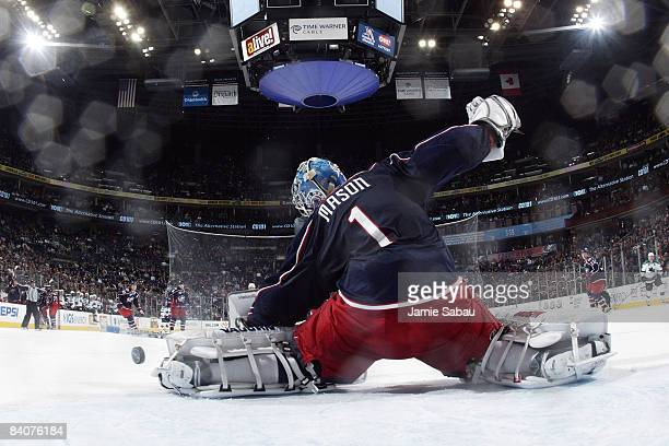 Steve Mason of the Columbus Blue Jackets makes a save against the San Jose Sharks during the third period on December 17 2008 at Nationwide Arena in...