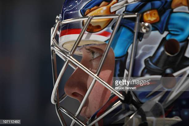 Steve Mason of the Columbus Blue Jackets skates in warmups prior to the game against the New York Islanders at the Nassau Coliseum on November 24...