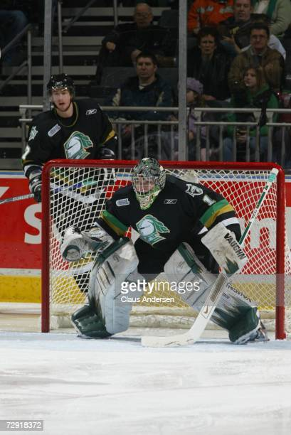Steve Mason of the London Knights prepares to face a shot in game against the Barrie Colts played at the John Labatt Centre on December 29, 2006 in...