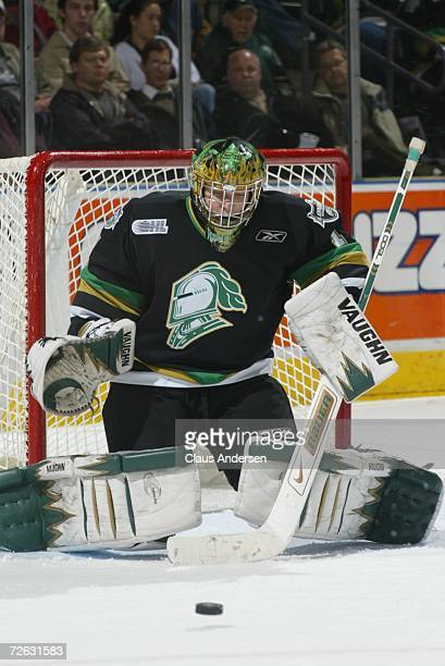 Steve Mason of the London Knights stops a shot against the Kitchener Rangers at the John Labatt Centre on November 16 2006 in London Ontario Canada
