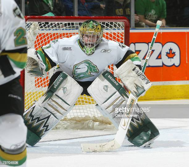 Steve Mason of the London Knights waits for a shot in game one of playoffs against the Owen Sound Attack at the John Labatt Centre on March 23, 2007...