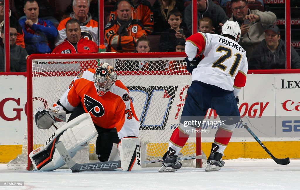 Steve Mason #35 of the Philadelphia Flyers makes a stick save against Vincent Trocheck #21 of the Florida Panthers in the shootout on March 2, 2017 at the Wells Fargo Center in Philadelphia, Pennsylvania. The Flyers went on to defeat the Panthers 2-1 in a shootout.