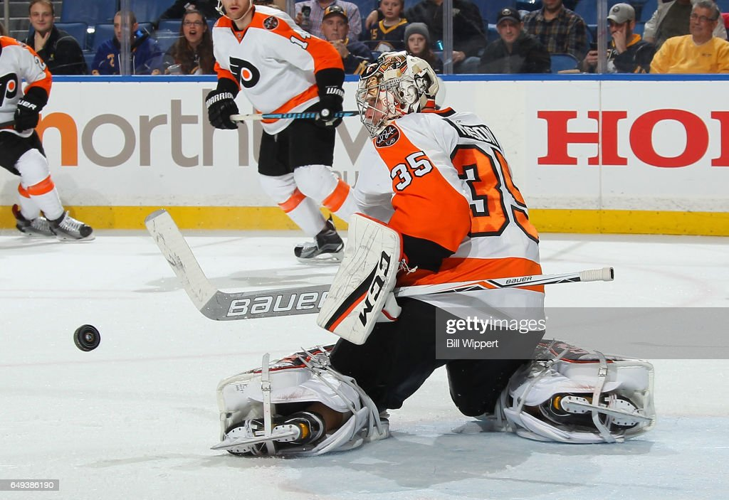 Steve Mason #35 of the Philadelphia Flyers makes a third period save against the Buffalo Sabres during an NHL game at the KeyBank Center on March 7, 2017 in Buffalo, New York.