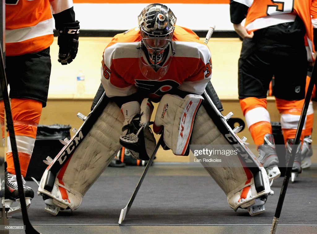 Steve Mason #35 of the Philadelphia Flyers prepares to step onto the ice for warm-ups prior to a game against the Ottawa Senators on November 19, 2013 at the Wells Fargo Center in Philadelphia, Pennsylvania.