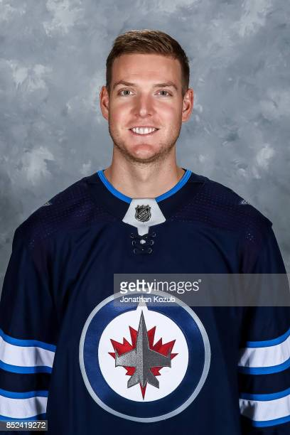 Steve Mason of the Winnipeg Jets poses for his official headshot for the 20172018 season on September 14 2017 at the Bell MTS Iceplex in Winnipeg...