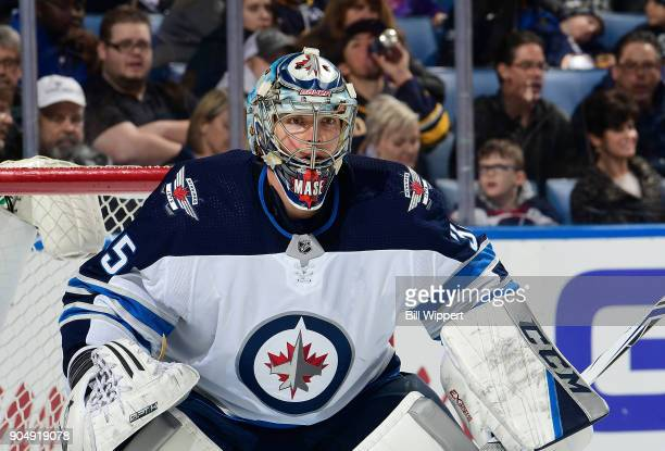 Steve Mason of the Winnipeg Jets tends goal against the Buffalo Sabres during an NHL game on January 9 2018 at KeyBank Center in Buffalo New York