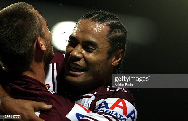 Steve Matai and Cheyse Blair of Manly celebrate a try during the round two NRL match between the Manly Warringah Sea Eagles and the South Sydney...