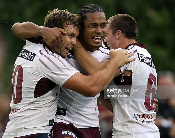 Steve Matai of the Sea Eagles celebrates with Josh Perry and Kieran Foran after scoring during the round four NRL match between the New Zealand...