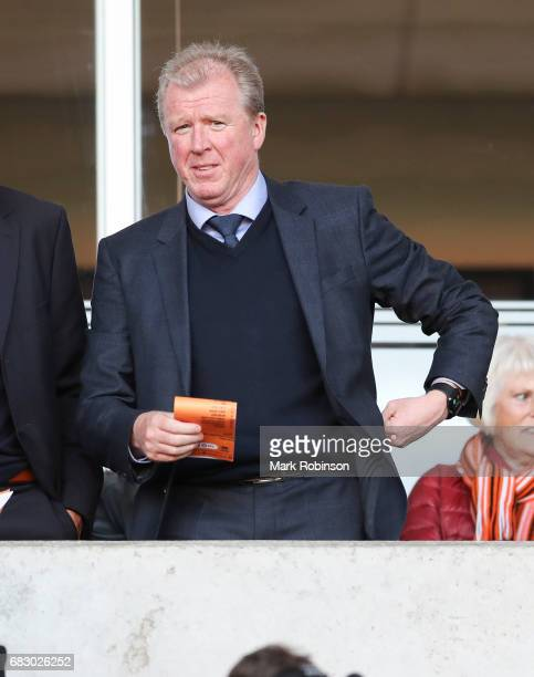 Steve McClaren in the directors box during the Sky Bet League Two match between Blackpool and Luton Town at Bloomfield Road on May 14 2017 in...