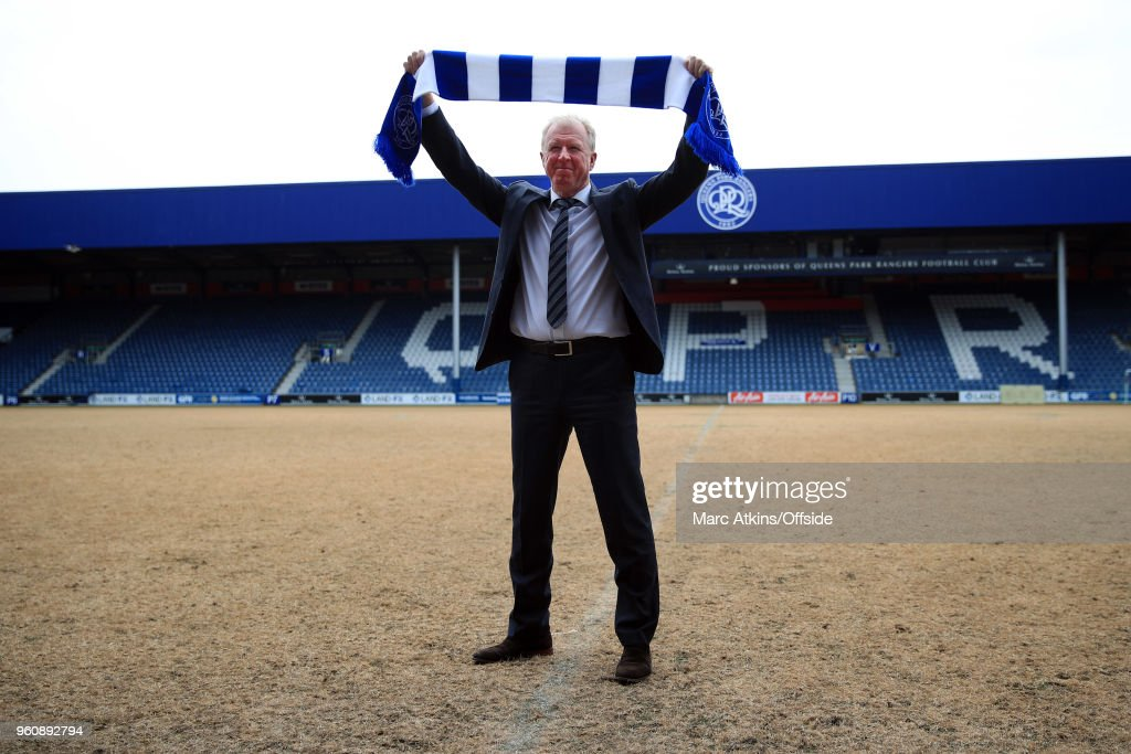 Steve McClaren is unveiled as new manager of Queens Park Rangers, posing on the pitch at Loftus Road on May 21, 2018 in London, England.