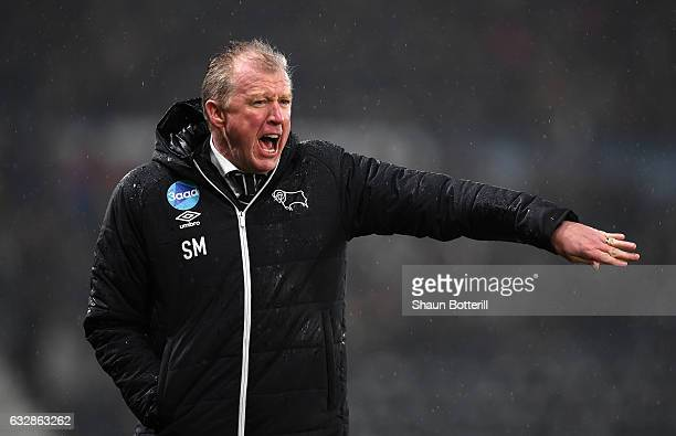 Steve McClaren Manager of Derby County reacts during The Emirates FA Cup Fourth Round match between Derby County and Leicester City at iPro Stadium...