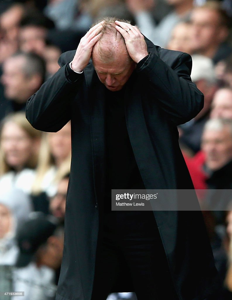 Steve McClaren, manager of Derby looks on during the Sky Bet Championship match between Derby County and Reading at iPro Stadium on May 2, 2015 in Derby, England.
