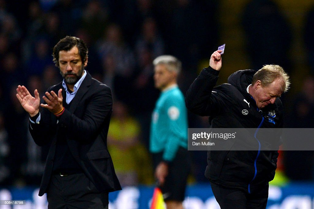Steve McClaren manager of Newcastle United abd Quique Flores manager of Watford react during the Barclays Premier League match between Watford and Newcastle United at Vicarage Road on January 23, 2016 in Watford, England
