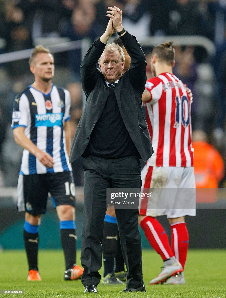 Steve McClaren manager of Newcastle United applauds the supporters after the scoreless draw in the Barclays Premier League match between Newcastle United and Stoke City at St James' Park on October 31, 2015 in Newcastle upon Tyne, England.