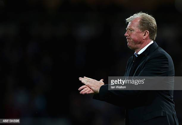 Steve McClaren manager of Newcastle United encourages his team during the Barclays Premier League match between West Ham United and Newcastle United...