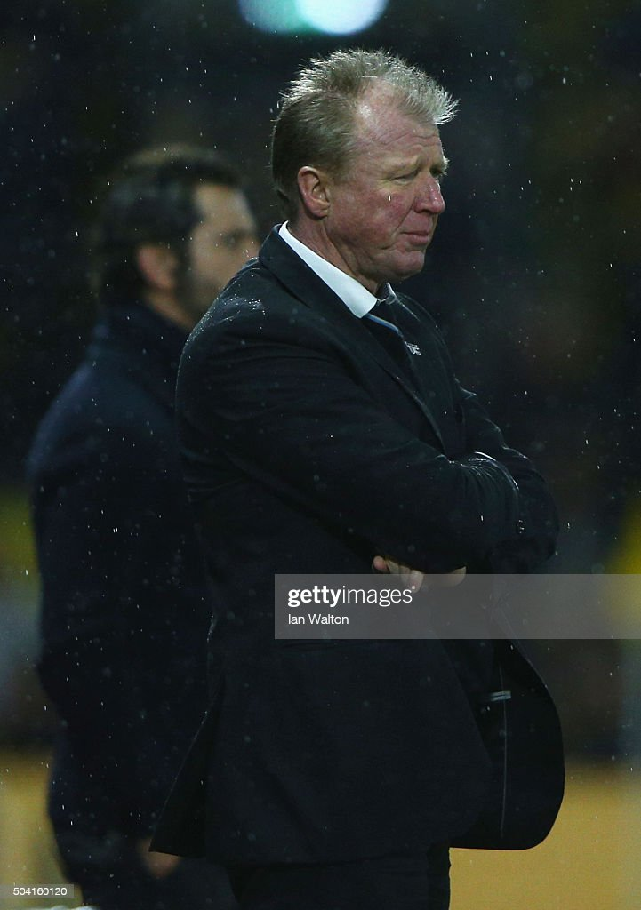 Steve McClaren manager of Newcastle United looks on during the Emirates FA Cup Third Round match between Watford and Newcastle United at Vicarage Road on January 9, 2016 in Watford, England.