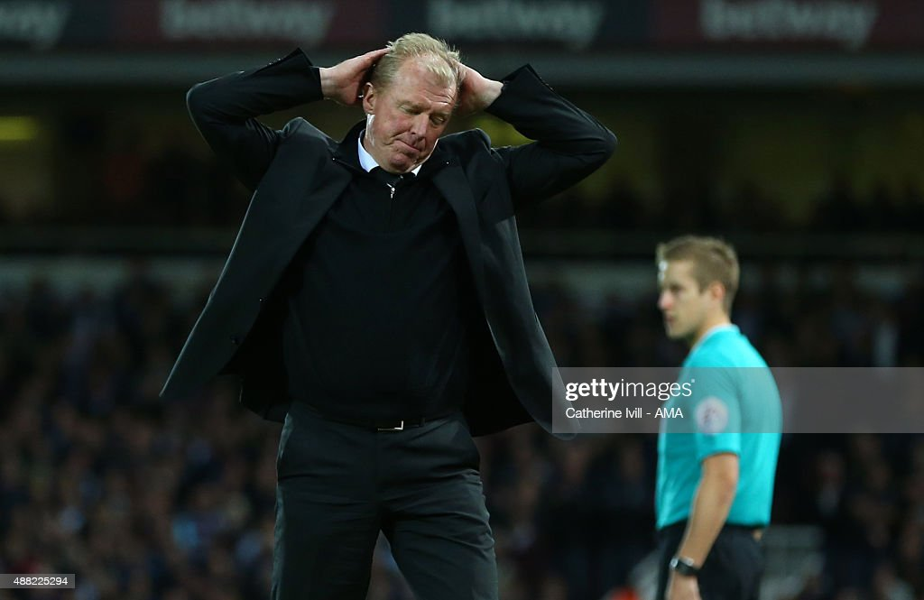 Steve McClaren manager of Newcastle United reacts after his team miss a chance during the Barclays Premier League match between West Ham United and Newcastle United on September 14, 2015 in London, United Kingdom.
