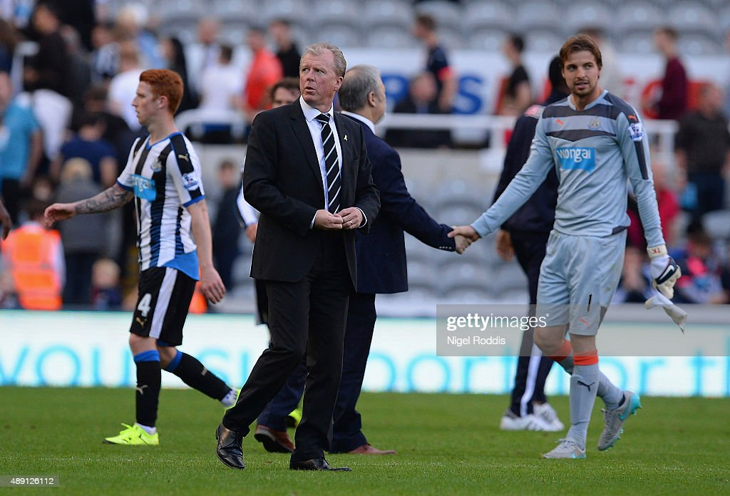 Steve McClaren manager of Newcastle United reacts after his team's 1-2 defeat after the Barclays Premier League match between Newcastle United and Watford at St James' Park on September 19, 2015 in Newcastle upon Tyne, United Kingdom.
