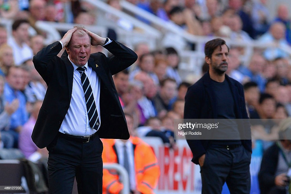 Steve McClaren manager of Newcastle United reacts during the Barclays Premier League match between Newcastle United and Watford at St James' Park on September 19, 2015 in Newcastle upon Tyne, United Kingdom.