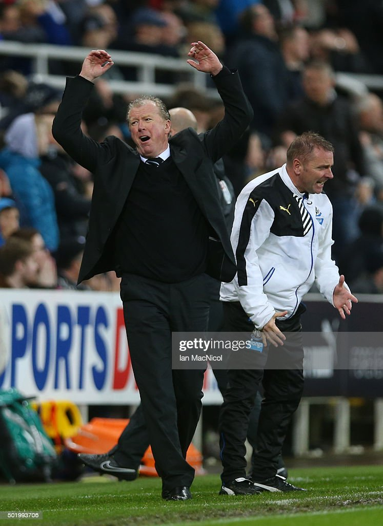 Steve McClaren manager of Newcastle United reacts during the Barclays Premier League match between Newcastle United and Aston Villa at St James' Park on December 19, 2015 in Newcastle upon Tyne, England.