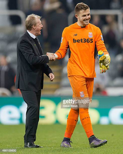 Steve McClaren manager of Newcastle United shakes hands with Jack Butland of Stoke City after the scoreless draw in the Barclays Premier League match...