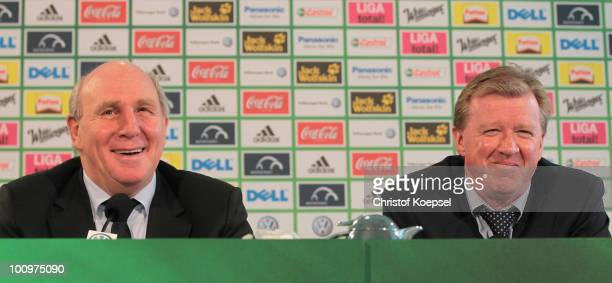 Steve McClaren, new head coach of Wolfsburg and manager Dieter Hoeness of Wolfsburg look on during a press conference after signing for VfL Wolfsburg...