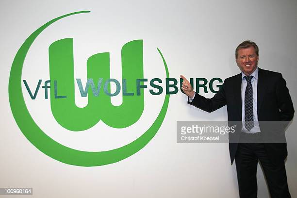 Steve McClaren, new head coach of Wolfsburg poses after a press conference after signing for VfL Wolfsburg at the Volkswagen Arena on May 26, 2010 in...