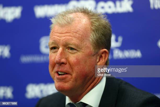 Steve McClaren speaks with the media as he is officially unveiled as the Queens Park Rangers new manager at Loftus Road on May 21 2018 in London...