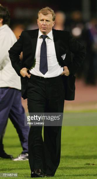 Steve McClaren the manager of England looks dejected after defeat to Croatia in the Euro2008 Qualifier match between Croatia and England at the...