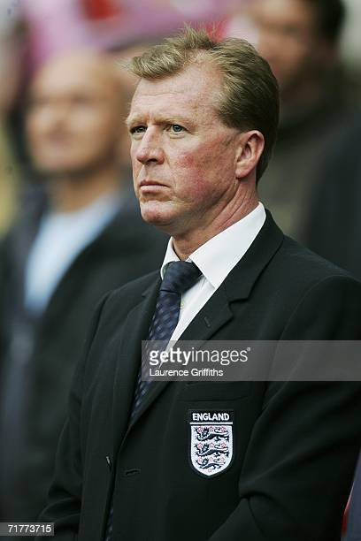Steve McClaren the manager of England stands for the anthems prior to kickoff during the Euro 2008 Qualifying match between England and Andorra at...
