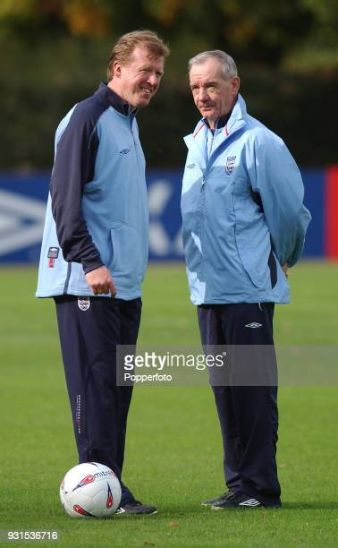 Steve McClaren with Tord Grip during England training at Bisham Abbey near Marlow on October 10 2002