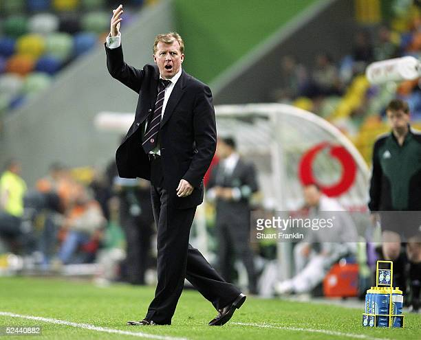 Steve McLaren, Manager of Middlesbrough calls team orders during The UEFA Cup Match between Sporting Lisbon and Middlesbrough, at The Jose Alvalade...