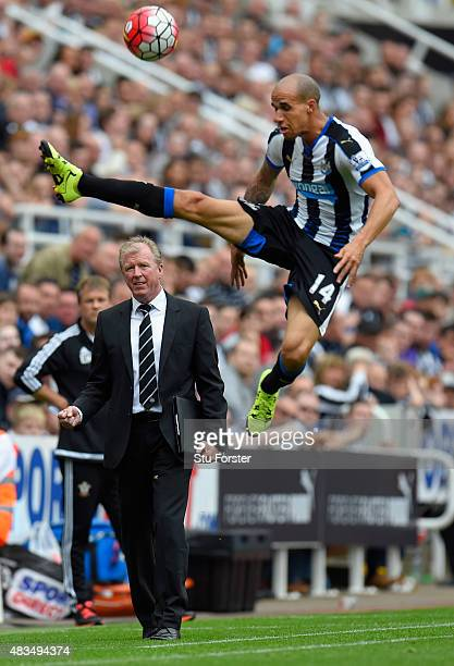 Steve McLaren manager of Newcastle United looks on as Gabriel Obertan of Newcastle United jumps for the ballduring the Barclays Premier League match...