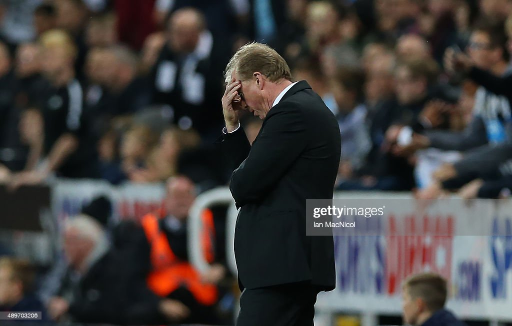 Steve McLaren Newcastle United's manager reacts during the Capital One Cup Third Round match between Newcastle United and Sheffield Wednesday at St James Park on September 23, 2015 in Newcastle, England.