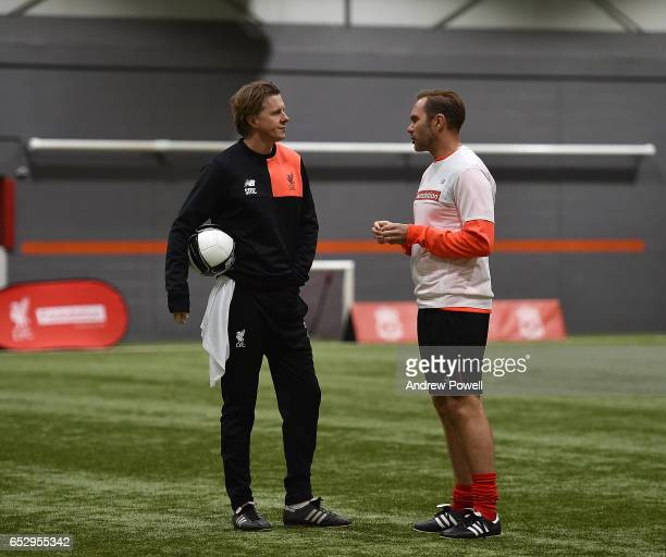 Steve Mcmanaman and Jason Mcateer Liverpool Legends during a training session at Liverpool FC Academy on March 13 2017 in Kirkby England