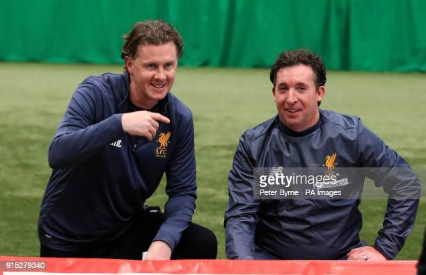 Steve McManaman and Robbie Fowler during a preview day for the Liverpool Legends charity match against Bayern Munich at The LFC Academy Liverpool