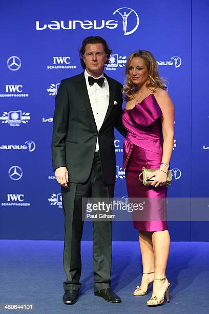 Steve McManaman and wife Victoria attends the 2014 Laureus World Sports Awards at the Istana Budaya Theatre on March 26 2014 in Kuala Lumpur Malaysia