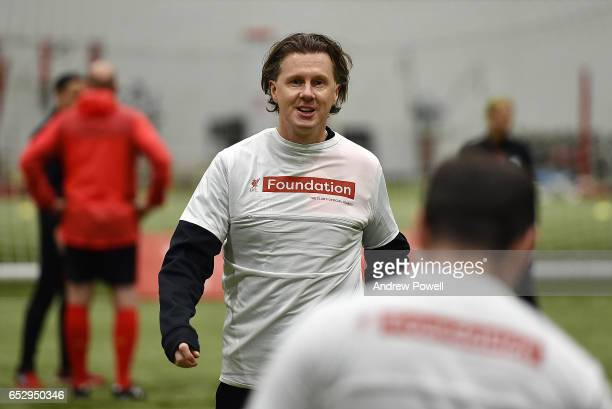 Steve Mcmanaman Liverpool Legend during a training session at Liverpool FC Academy on March 13 2017 in Kirkby England