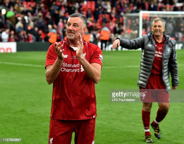 Steve Mcmanaman of Liverpool FC Legends showing his appreciation to the fans at the end of the friendly match between Liverpool FC Legends and AC...