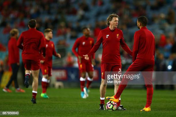 Steve McManaman of Liverpool warms up before the International Friendly match between Sydney FC and Liverpool FC at ANZ Stadium on May 24 2017 in...