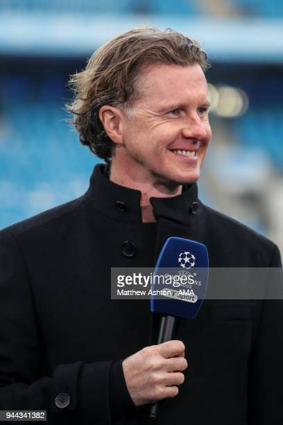Steve McManaman reporting for BT Sport prior to the UEFA Champions League Quarter Final Second Leg match at Etihad Stadium on April 10 2018 in...