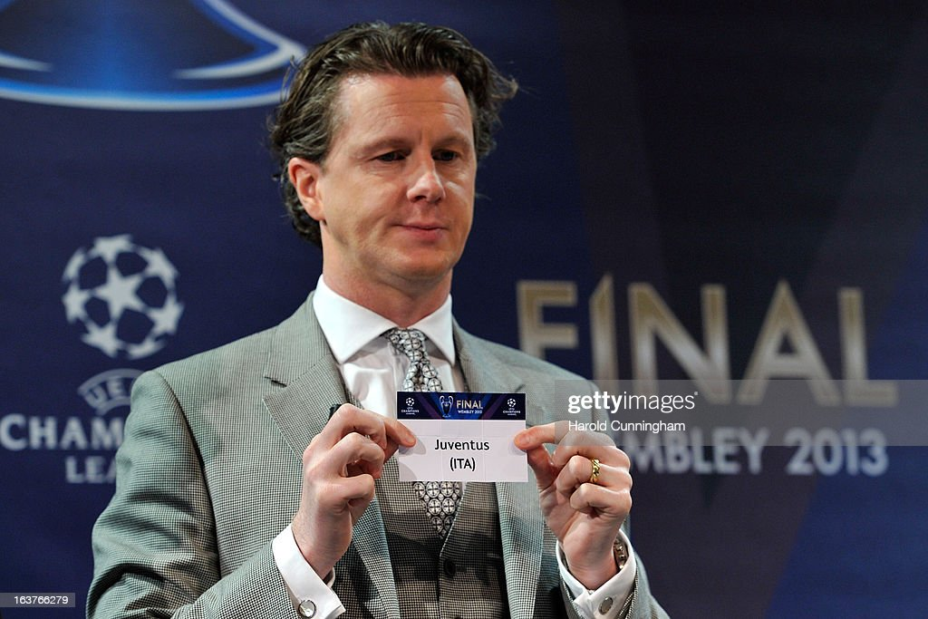 Steve McManaman, UEFA Champions League Final Ambassador, shows the name Juventus during the UEFA Champions League quarter finals draw at the UEFA headquarters on March 15, 2013 in Nyon, Switzerland.